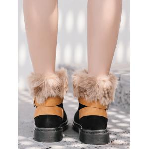 Low Heel Faux Fur Ankle Boots -