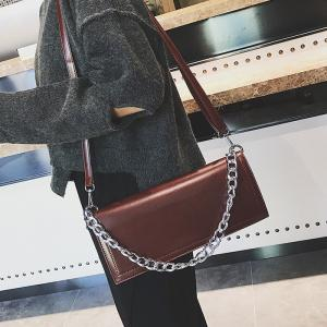 Chain Stitching Crossbody Bag - BROWN