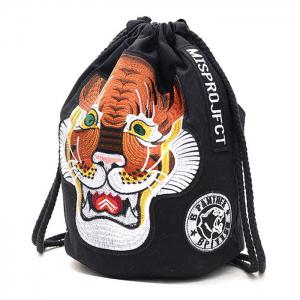 Tiger Embroidery String Canvas Backpack -