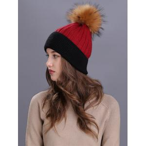 Vintage Fuzzy Ball Embellished Slouchy Beanie - RED