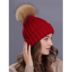 Outdoor Flanging Fur Pom Ball Knited Beanie - WINE RED