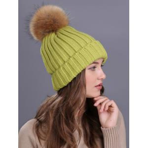 Outdoor Flanging Fur Pom Ball Knited Beanie -