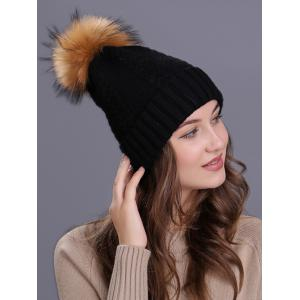 Vintage Fuzzy Ball Embellished Flanging Knitted Beanie - BLACK