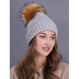Vintage Fuzzy Ball Embellished Flanging Knitted Beanie - LIGHT GRAY