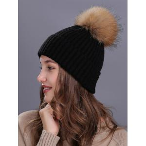 Outdoor Crochet Flanging Pom Ball Knitting Beanie - BLACK