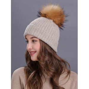 Outdoor Crochet Flanging Pom Ball Knitting Beanie -