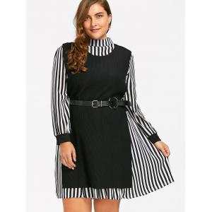 Plus Size Stripe Shirt Dress et Slit Knit Vest - Noir 5XL