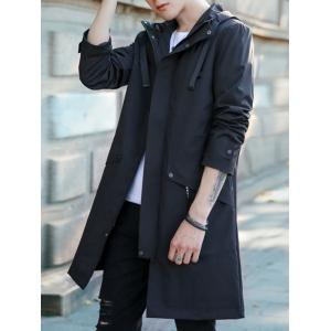 Zip Up Multi Pockets Hooded Trench Coat - BLACK XL