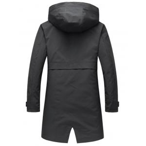 Zip Up Multi Pockets Hooded Trench Coat - BLACK 2XL