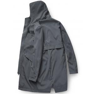 Zip Up Multi Pockets Hooded Trench Coat - DEEP GRAY XL