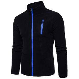 Stand Collar Suture Fleece Zip Up Jacket -
