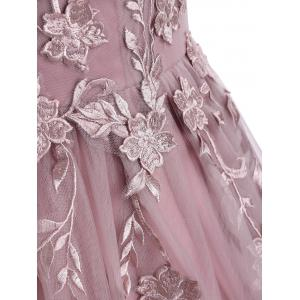 Sleeveless Floral Embroidered Mesh Yoke Evening Prom Dress -