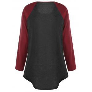 Plus Size Two Tone Raglan Sleeve Top with Buttons - BLACK&RED 4XL