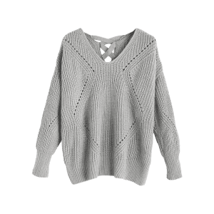 V Neck Criss Cross Sheer Sweater - GRAY ONE SIZE