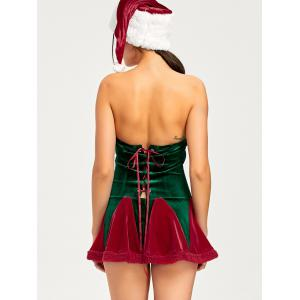 Christmas Lace Up Tube Dress and Hat - RED XL