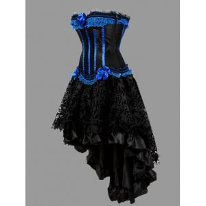 Two Piece Flounce Plus Size Corset Dress - BLUE 6XL