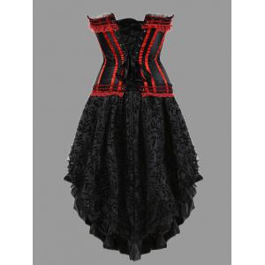 Two Piece Flounce Plus Size Corset Dress - RED 5XL