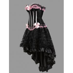 Two Piece Flounce Plus Size Corset Dress - PINK 5XL