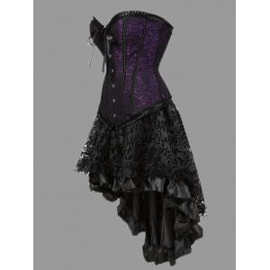 Plus Size Flounce Two Piece Corset Dress - PURPLE 5XL
