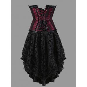 Plus Size Flounce Two Piece Corset Dress -