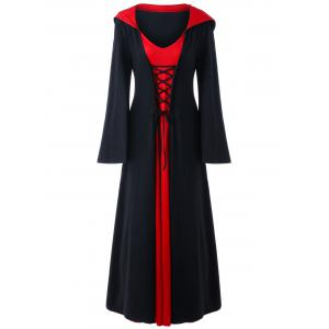 Plus Size Lace Up Hooded Maxi Dress -