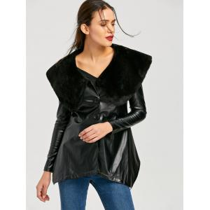 Faux Fur Collar Asymmetric PU Leather Coat - BLACK 2XL
