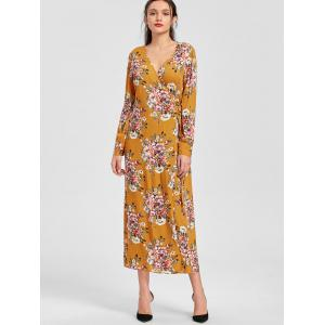 Floral Print Long Sleeve Maxi Wrap Dress -
