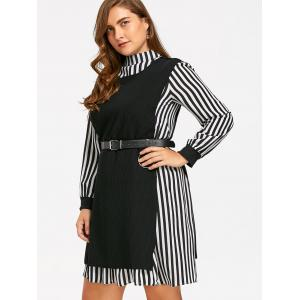 Plus Size Stripe Shirt Dress et Slit Knit Vest -
