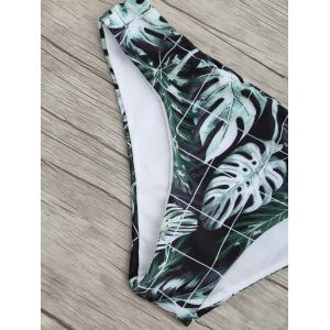 Zip High Neck Leaves Print Bikini Set -