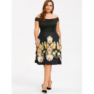 Plus la taille Floral Off The Shoulder Party Wear -