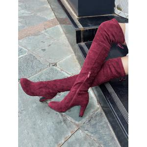 Mid Heel Thigh High Boots -