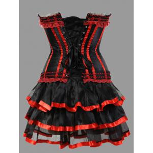 Two Piece Plus Size Ruffles Corset Dress -