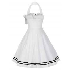Vintage Bowknot Backless Halter Skater Pin Up Dress -
