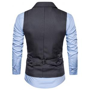 Double Breasted Belt Vertical Stripe Waistcoat -