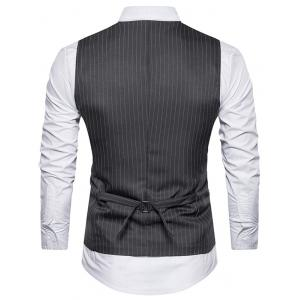 Single Breasted Belt Vertical Stripe Waistcoat -