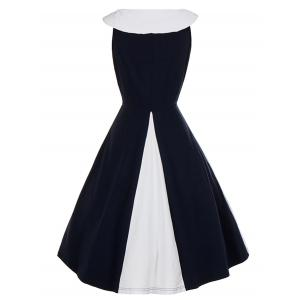 Vintage Bow Tie Color Block Pin Up Dress -