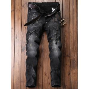 Straight Leg Paint Ripped Jeans -