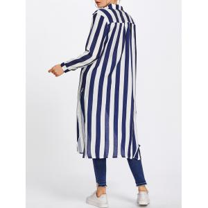 Long Sleeve Striped Duster Coat -