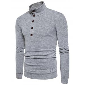 Buttons Long Sleeve Knitted Sweater -