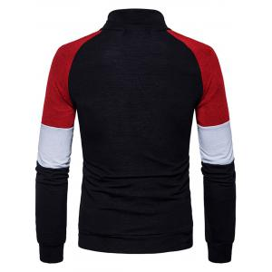 Buttons Color Block Panel Raglan Sleeve Sweater -