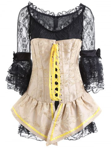 Jacquard Lace Up Corset and Tiered Dress
