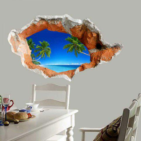 Best 3D Hole Coconut Tree Floor Sticker Waterproof Wall Decal - BLUE  Mobile