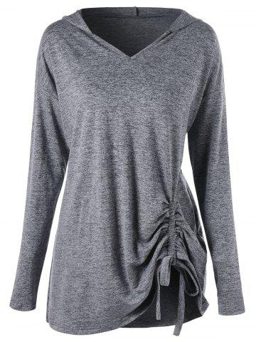 Fashion Drop Shoulder Ruched Plus Size Hoodie GRAY XL