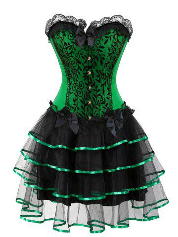 Outfit Flounce Two Piece Plus Size Corset Dress GREEN 4XL