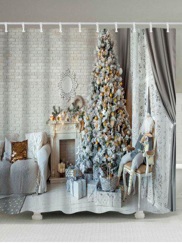Online Christmas Tree Fireplace Print Waterproof Bath Curtain - W59 INCH * L71 INCH COLORMIX Mobile