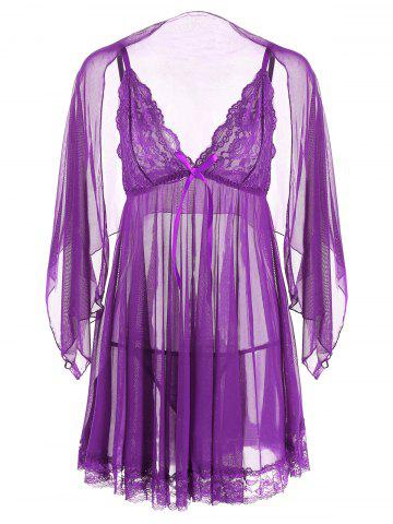 Best Mesh Sheer Slip Babydoll - M PURPLE Mobile