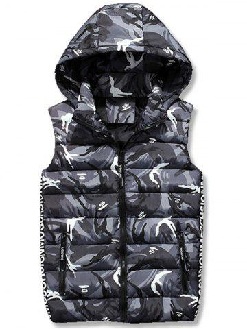 Latest Zip Up Hooded Camo Quilted Vest - XL GRAY Mobile