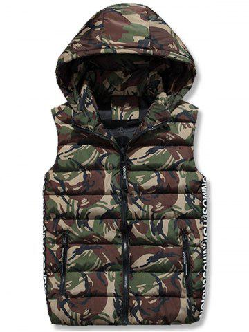 Trendy Zip Up Hooded Camo Quilted Vest - 3XL ARMY GREEN Mobile