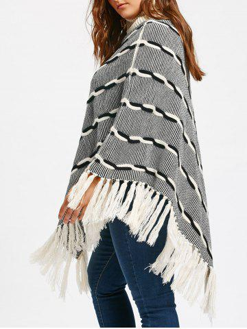 Hot Turtleneck Tassel Plus Size Stripe Poncho Sweater WHITE + GREY 5XL