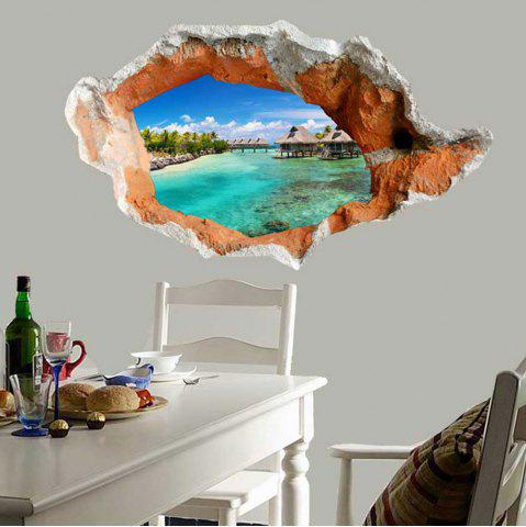 Outfit Waterproof Floor Decal 3D Hole Seaside Scenery Wall Sticker - GREEN  Mobile